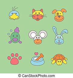 stijl, set, lijn, huisdieren, pictogram