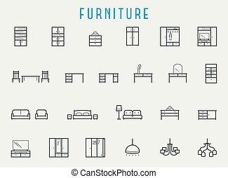 stijl, set, lijn, pictogram, meubel