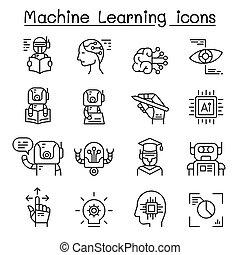 stijl, set, machine, mager, leren, lijn, pictogram