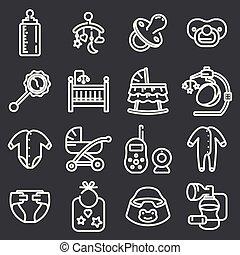 stijl, set, mager, baby, lijn, pictogram