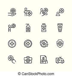 stijl, set, mager, gezondheidszorg, lijn, pictogram