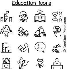 stijl, set, &, mager, leren, lijn, opleiding, pictogram