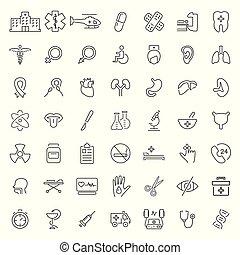 stijl, set, medisch, verwant, dune lijn, pictogram