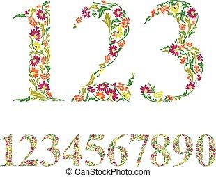 stijl, set, ouderwetse , set., vector, getallen, floral, cijfers