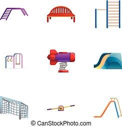 stijl, set, park, speelplaats, spotprent, pictogram