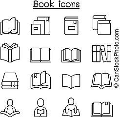 stijl, set, pictogram, &, boek, dune lijn, opleiding, lezende , leren