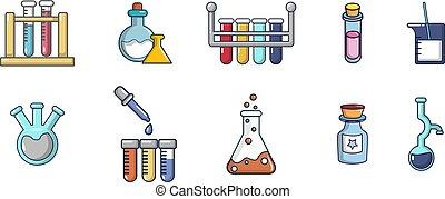 stijl, set, potten, chemisch, spotprent, pictogram