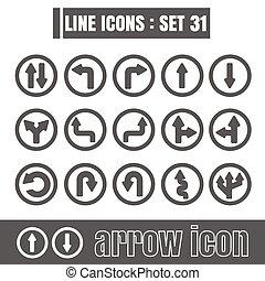 stijl, set, richtingwijzer, iconen, meetkunde, recht, moderne, lijnen, bochten, vector, zwarte achtergrond, ontwerp, lijn, witte , communie