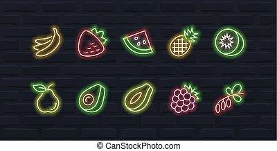 stijl, set, schets, neon, vector, vruchten, #2, pictogram