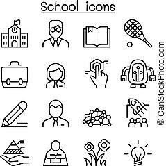 stijl, set, school, &, mager, leren, lijn, opleiding, pictogram