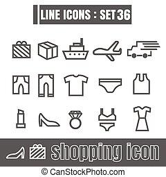 stijl, set, shoppen , iconen, meetkunde, recht, moderne, lijnen, bochten, vector, zwarte achtergrond, ontwerp, lijn, witte , communie