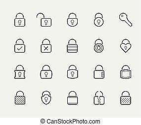 stijl, set, sloten, vector, dune lijn, pictogram