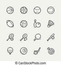 stijl, set, sporten, dune lijn, pictogram
