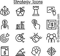stijl, set, strategie, dune lijn, pictogram