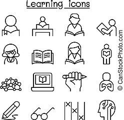 stijl, set, studeren, dune lijn, opleiding, leren, pictogram