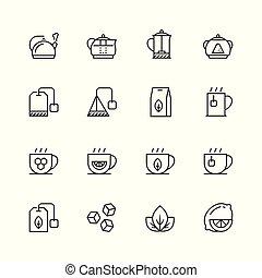 stijl, set, thee, verwant, vector, dune lijn, pictogram