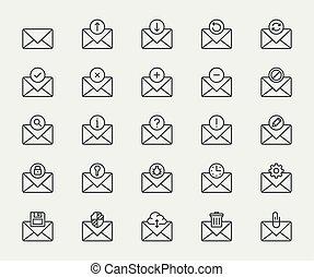 stijl, set, vector, dune lijn, email, pictogram