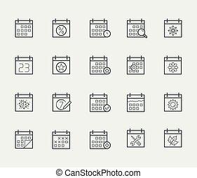 stijl, set, vector, dune lijn, kalender, pictogram