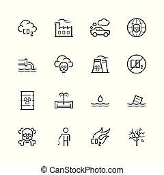 stijl, set, vector, dune lijn, pictogram, vervuiling