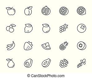stijl, set, vector, mager, vruchten, lijn, pictogram