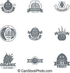 stijl, set, vegan, eenvoudig, voedsel, logo