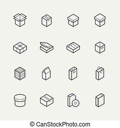 stijl, set, verpakken, verwant, vector, dune lijn, pictogram