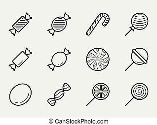 stijl, set, versuikeren, vector, dune lijn, pictogram