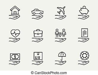 stijl, set, verwant, dune lijn, verzekering, pictogram
