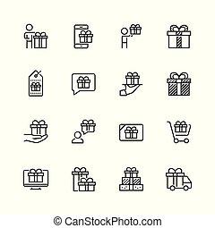 stijl, set, verwant, kadootjes, vector, dune lijn, pictogram