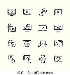 stijl, set, verwant, vector, dune lijn, leerprogramma, pictogram