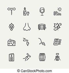 stijl, set, verwant, vector, dune lijn, pictogram, wijntje