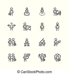 stijl, set, verwant, vector, mager, zakenman, lijn, pictogram