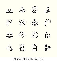 stijl, set, verwant, water, vector, dune lijn, pictogram