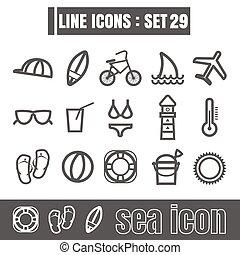 stijl, set, zee, iconen, meetkunde, recht, moderne, lijnen, bochten, vector, zwarte achtergrond, ontwerp, lijn, witte , communie
