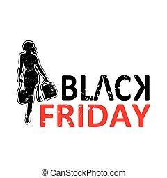 stijl, shoppen , vrijdag, black , grunge, silhouette, dame