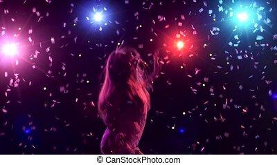 stijl, silhouette, dancing, disco steekt aan, confetti,...