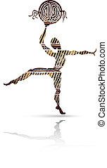 stijl, silhouette, dancing, mannen, ethnische , tambourine