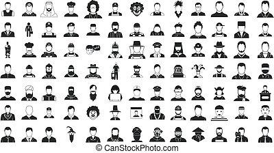 stijl, silhouette, set, eenvoudig, man, pictogram