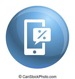 stijl, smartphone, eenvoudig, procent, tabel, pictogram