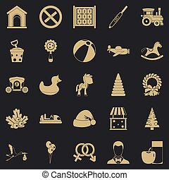stijl, speelbal, iconen, set, eenvoudig, kinderen
