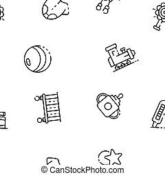 stijl, speelbal, schets, plastic, baby, pictogram