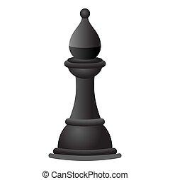 stijl, spotprent, pictogram, black , schaakspel, ridder