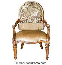 stijl, stoel, houten, classieke, ouderwetse