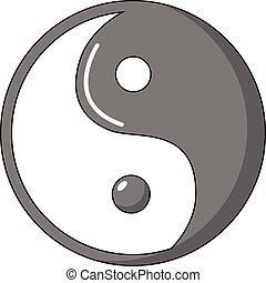 stijl, symbool, yin yang, pictogram, taoism, spotprent