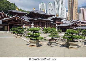 stijl, tang, chi, lin, hong, dynastie, nonnenklooster, tempel, kong