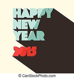 stijl, titel, retro, jaar, 2015, nieuw, vrolijke