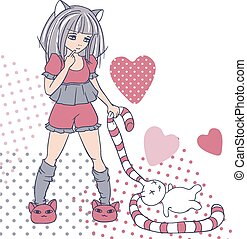 stijl, toy., meiden, vector, achtergrond, manga