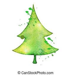 stijl, trending, boompje, watercolor, vector, kerstmis