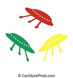 stijl, ufo, eenvoudig, teken., isometric, geel groen, icon., rood