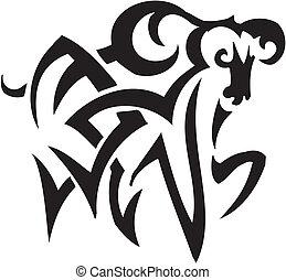 stijl, van een stam, ram, -, illustratie, vector
